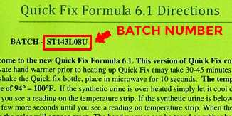 Quick Fix Urine Batch Number Example